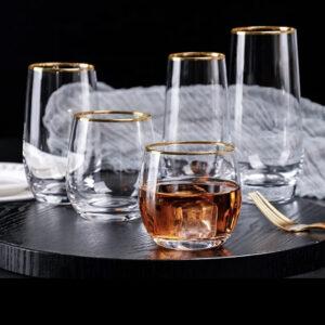 Vandglas med guldkant-  Safir, stor