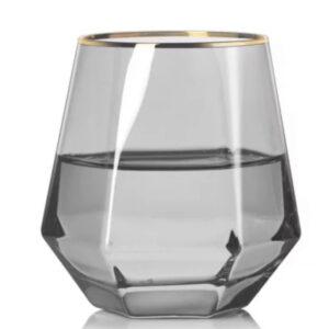 Grå vandglas med guldkant - Alvira