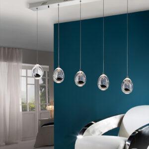 Schuller loftlampe - Rocio 5 LED lyskilder, sølv