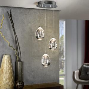 Schuller loftlampe - Rocio, 3 lyskilder sølv