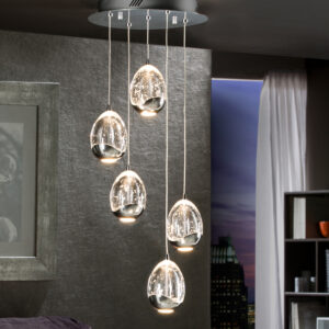 Schuller loftlampe - Rocio 5 lyskilder, sølv