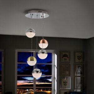 Schuller loftlampe - Sphere 5 lyskilder, forskelige farver