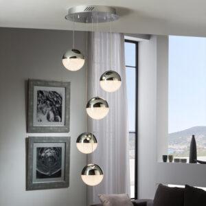 Schuller loftlampe - Sphere 5 lyskilder, krom