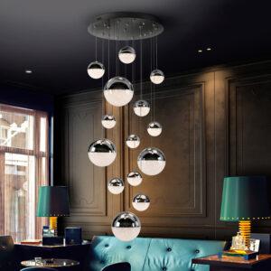 Schuller loftlampe - Sphere 14 lyskilder, krom