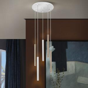 Schuller loftlampe - Varas 5 lyskilder. Fjernbetjening, Guld, mat hvid