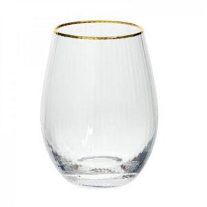 Rillede vandglas 6 stk - Mellem, Safir
