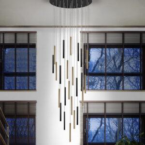 Schuller loftlampe - Varas 25 lyskilder. Fjernbetjening. Guld, mat sort