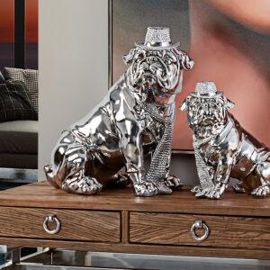 Stor sølv skulptur - Bulldog