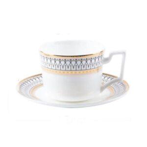 Olivia - Kaffekop og underkop med guldmønster