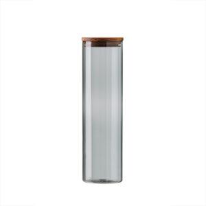 Aida RAW Glass & storage smoke - Stor opbevaring låg i teak d7,8 x h28 cm