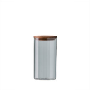 Aida RAW Glass & storage smoke - Mellem opbevaring låg i teak d10 x h18 cm