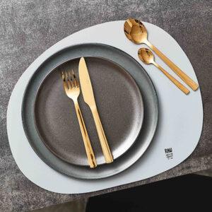RAW Organic dækkeserviet silikone - Lysegrå 41 x 33,5 cm. 4 Stk.
