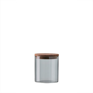 Aida RAW Glass & storage smoke - Lille opbevaring låg i teak d10 x h11 cm